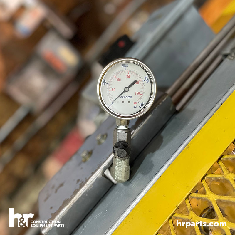 A gauge on a hydraulic press.