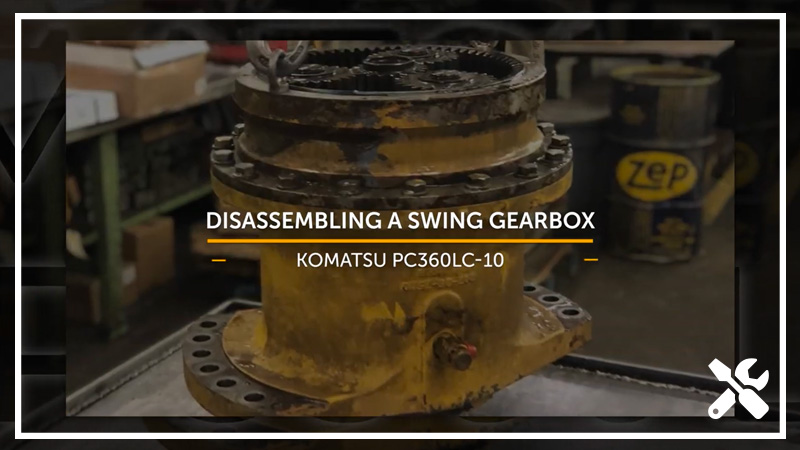 A title card reads Swing Gearbox Disassembly and shows a swing gearbox.